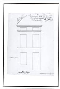 voorgevel 'Reconstruction de la maison' - tweede kwart negentiende eeuw - bouwaanvraag SAG G12 nr. 6555. Beeld: Stadsarchief Gent, opname: 1995