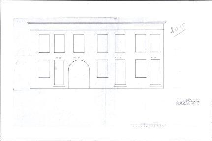 1821 - voorgevel - eerste kwart negentiende eeuw - construction d'un étage au dess - bouwaanvraag SAG G12 nr 2016 (1821). Beeld: CMS, opname: 1995