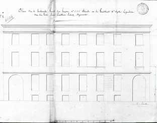 1843 - gevelplan bestaande toestand - tweede kwart negentiende eeuw - bouwaanvraag SAG G12 4604 (1843). Beeld: Stadsarchief Gent