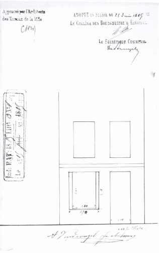 1885 - gevelplan - vierde kwart negentiende eeuw - bouwaanvraag SAG G12 1885 - O4. Beeld: Stadsarchief Gent