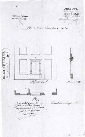 Verbouwing met tribunevenster door Vanderostyne in 1892 - bouwaanvraag SAG G12 nr. 1892 - O2. Beeld: Stadsarchief Gent, opname: 1995