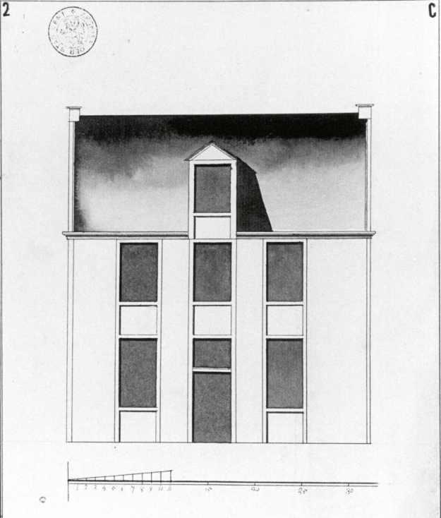 1774 - gevelplan - derde kwart achttiende eeuw - bouwaanvraag SAG 535 55 2 (1774) - een werkhuys - 1995 verdwenen. Beeld: Stadsarchief Gent