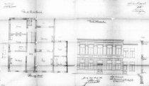 gevelplan en grondplan - vierde kwart negentiende eeuw - bouwaanvraag SAG (1881-03). Beeld: Stadsarchief Gent