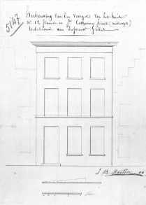 voorgevel - XIX - SAG G12 nr. 5147 - rechts nog bestaande oude gevel; links huis van P. De Moerloose uit 1700). Beeld: Stadsarchief Gent, opname: 1995