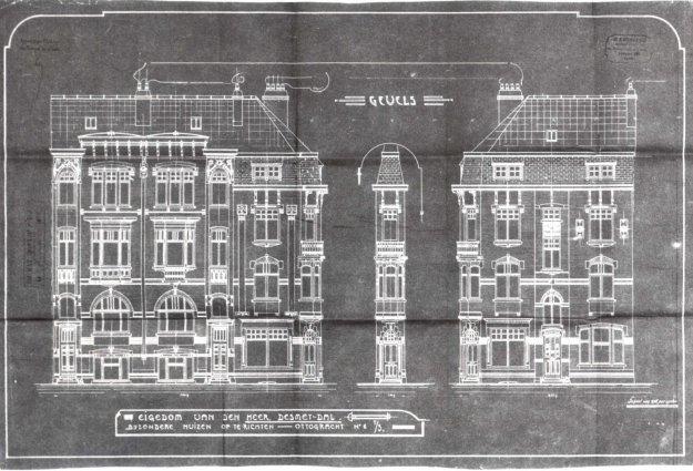voorgevels en doorsnede - eerste kwart twintigste eeuw - SAG G12 1914 - F6 - hoek Ottogracht - Baudelostraat : construire 3 maisons. Beeld: Stadsarchief Gent, opname: 1995