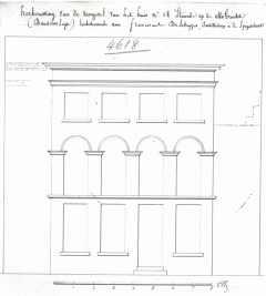 1830 - voorgevel - tweede kwart negentiende eeuw - SAG G12 4618 (1830) - Afbreken en herbouwen vroeger huis 'De Noble'. Beeld: Stadsarchief Gent, opname: 1995