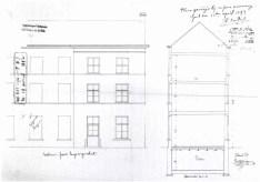 1892 - voorgevel en doorsnede - vierde kwart negentiende eeuw - SAG G12 1892 F3 (1892) - zie ook grondplan (358). Beeld: Dienst Monumentenzorg, opname: 1995