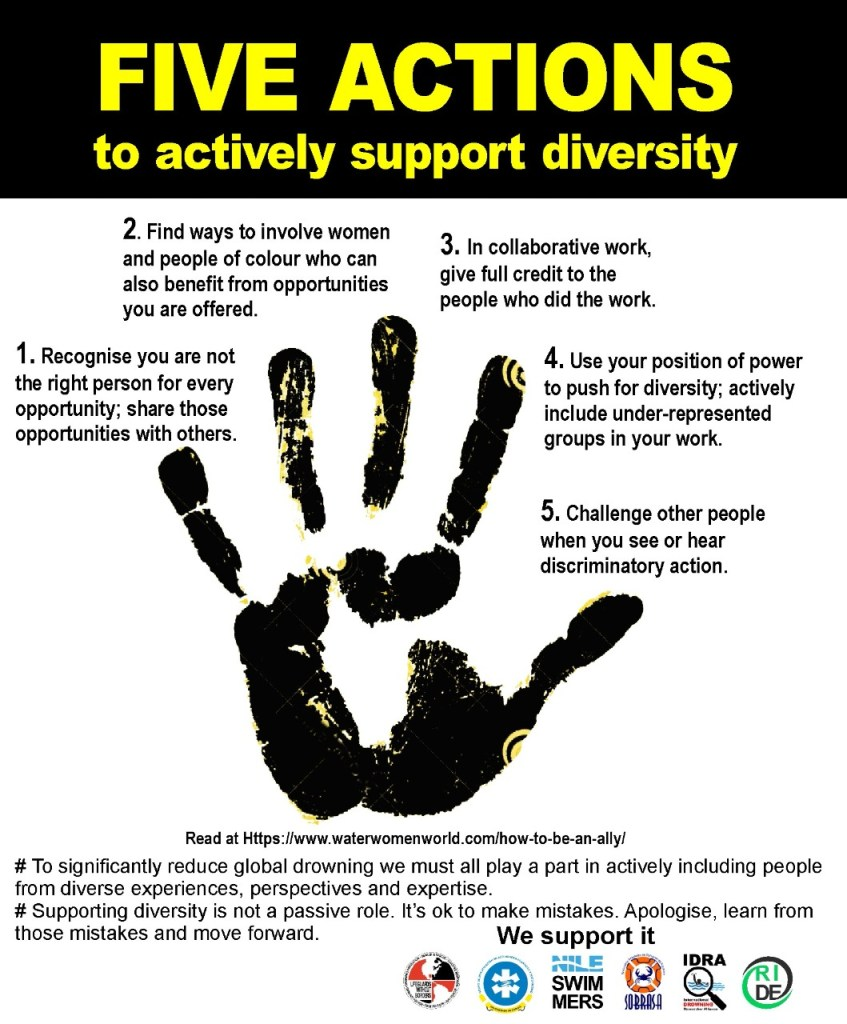 In my personal work and that of my organisation, I will actively support diversity by:  1. Recognising I am not the right person for every opportunity and sharing those opportunities with others. 2. Finding ways to involve women and people of colour who can also benefit from opportunities I am offered. 3. In collaborative work, giving full credit to the people who did the work. 4. Using my position of power to push for diversity and actively including under-represented groups in my work. 5. Challenging other people when I see or hear discriminatory action.