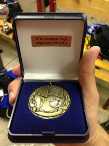 Tom Beck shows off his London Cup winners medal