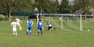 Rob Sterry dispatches the first of his two penalties.