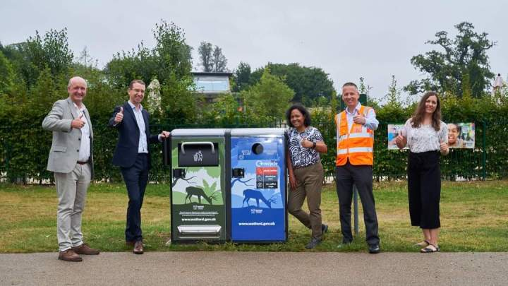 Solar Powered Compacting Litter bins installed in Park