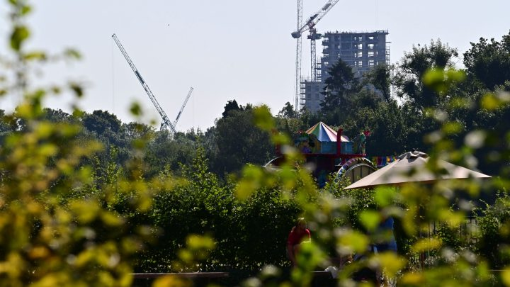 High Rise Towers over Watford's Park to an Urban Landscape