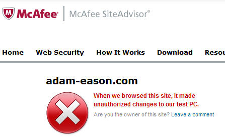 McAfee dire warning about Adam Eason's website
