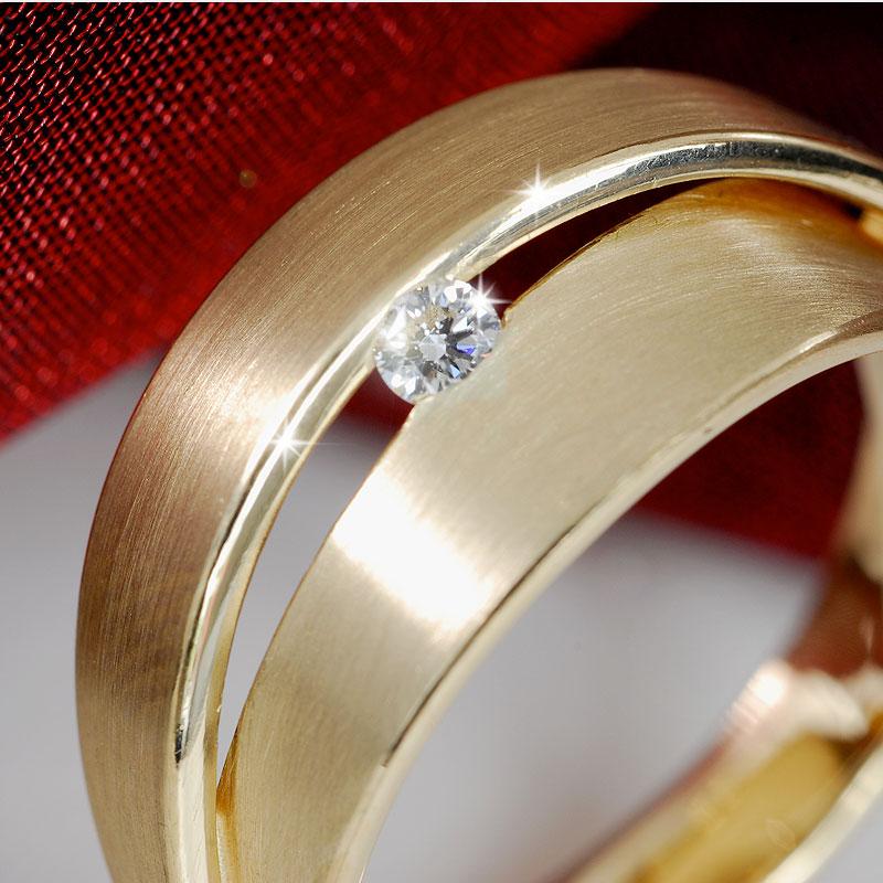Geelgouden ring met diamant, handgemaakt