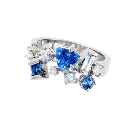 Witgouden strooiring met saffier en diamant