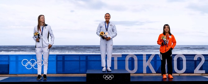Surfing's first women's Olympic medalists