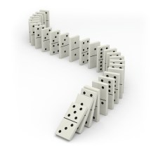 Line of dominos beginning to fall