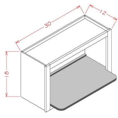 us cabinet depot shaker grey wall microwave shelf kit 26 1 2w x 3 4h x 17d installed dimensions shelf only fits wall open cabinet dove woc3018