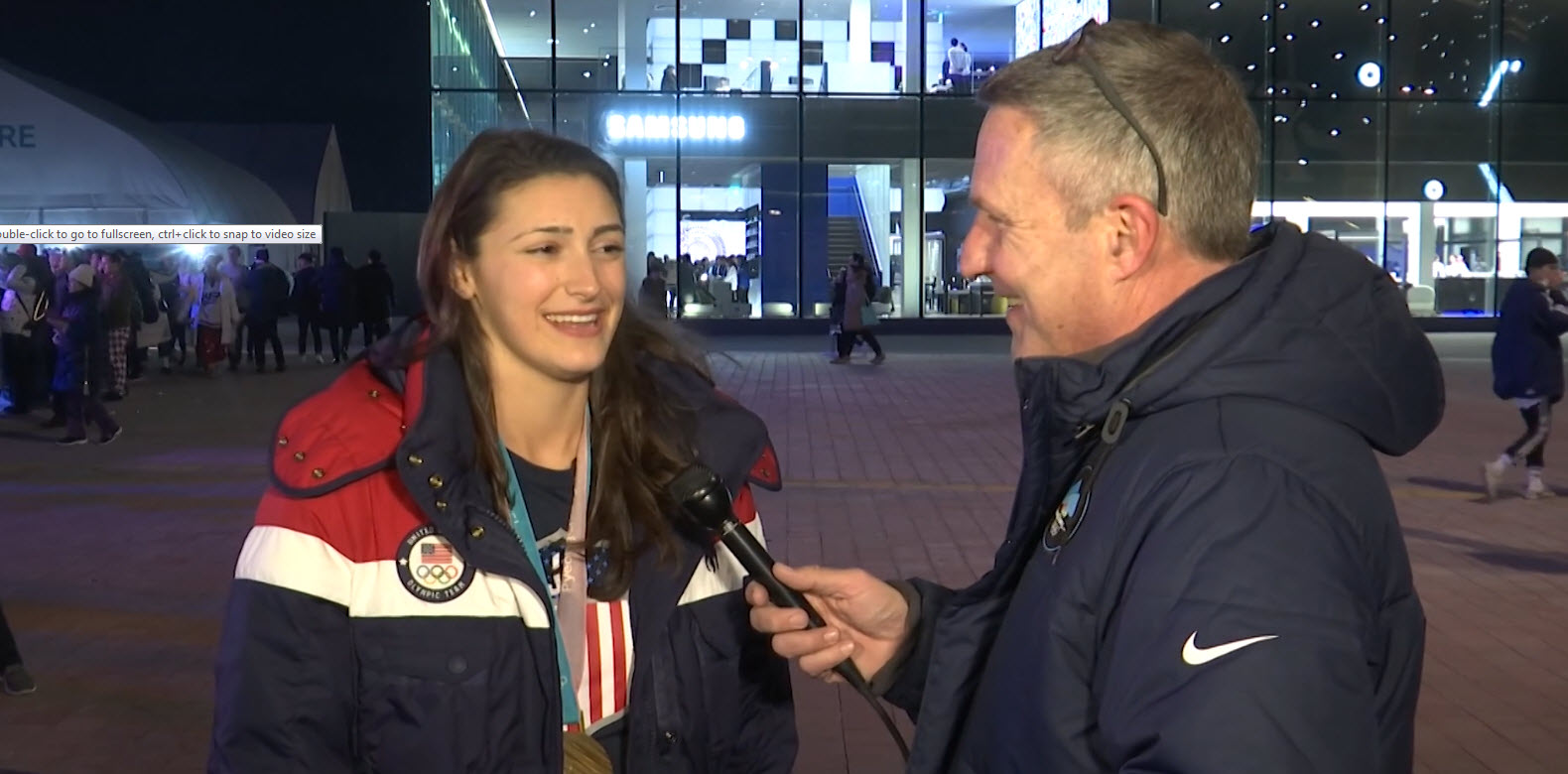Jack talks with Olympic gold medalist Megan Heller of Team USA Hockey_703952