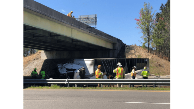 Tractor Trailer Flips Off Overpass Chesterfield County