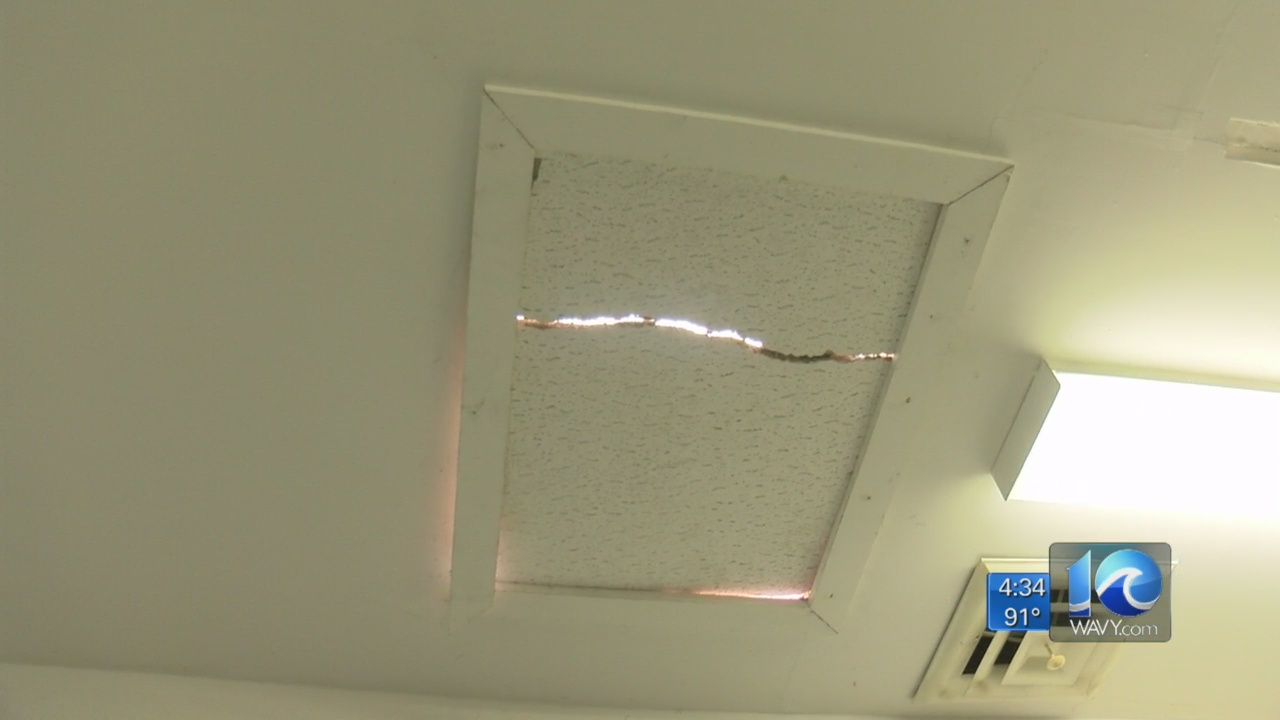 A crack in the roof at the Fraternal Order of Police in Courtland.