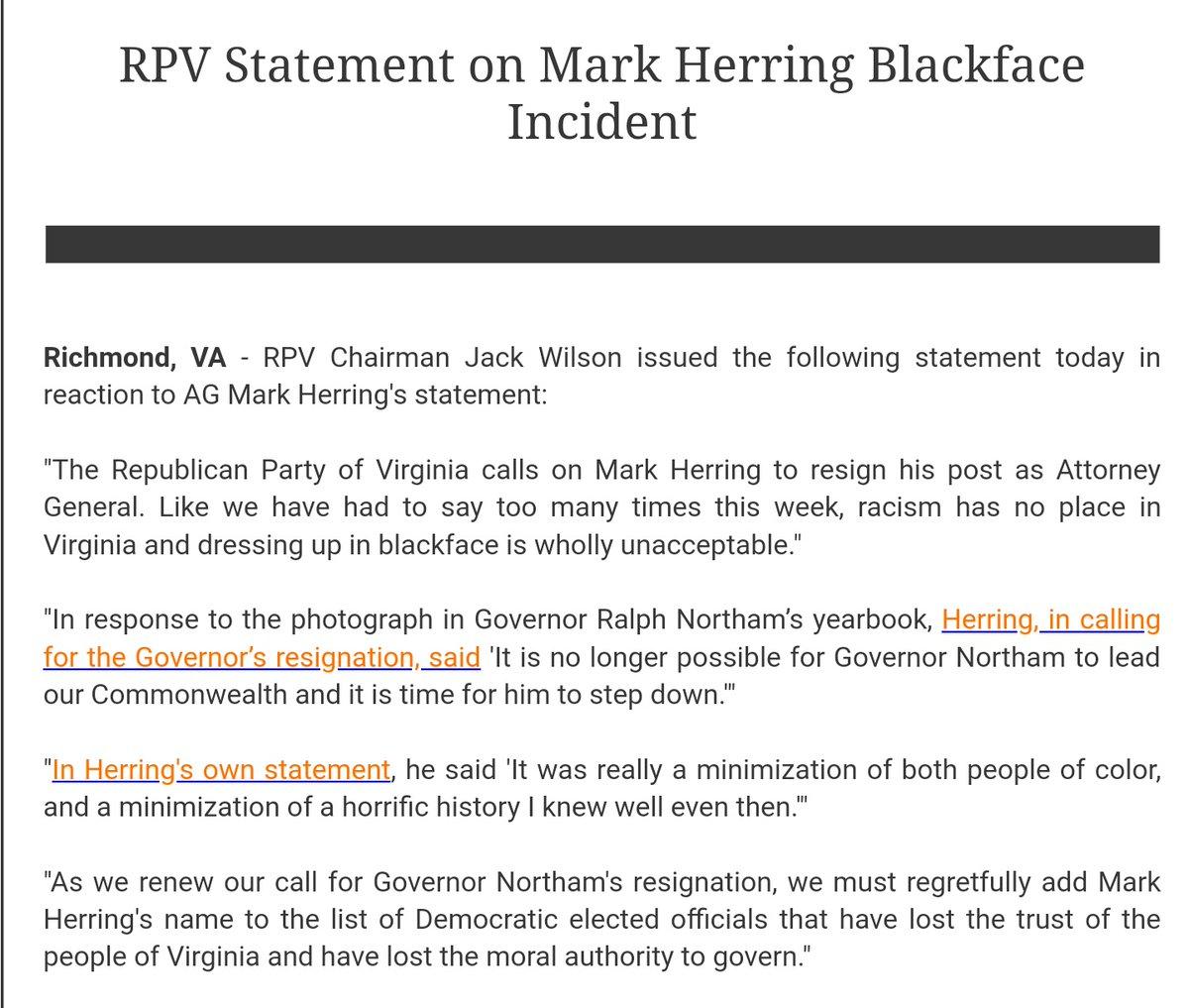 Va. GOP statement on Herring