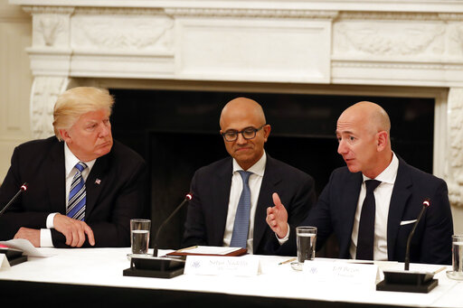 Donald Trump, Tim Cook, Satya Nadella, Jeff Bezos