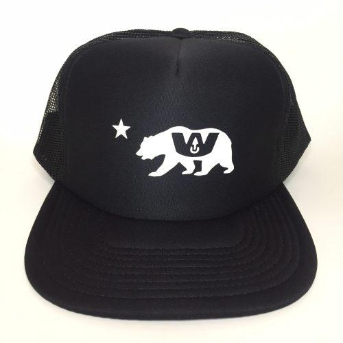 California Bear Trucker Hat White on Black