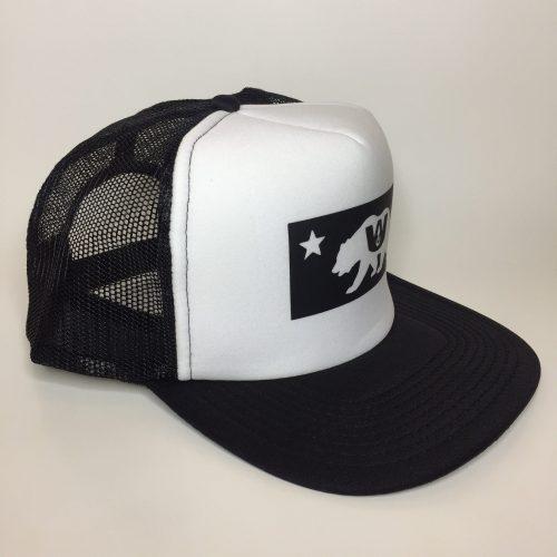 California Bear Trucker Hat Black on White