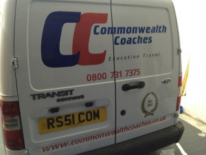 2 Logos where applied, and the text for CommonWealthCoaches.
