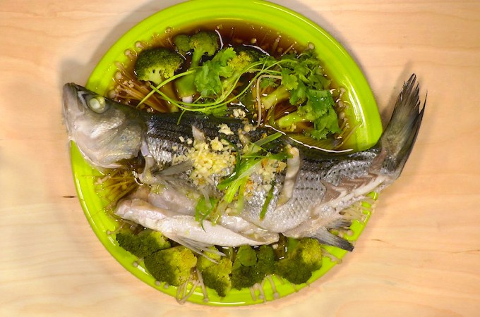 Chinese steamed fish bass