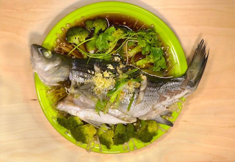 Steamed Striped Bass (清蒸鲈鱼)
