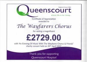 Queenscourt Hospice Donation Certificate