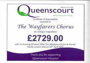 Queenscourt Hospice Donation Certificate
