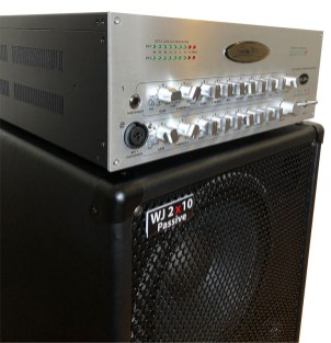 WJBA 2000 Watt Bass Guitar Amplifier with built in Twin Channel Bass Pre-Amp, featuring the option of phantom power on the second channel. 2000 Watts into 4 or 8 Ohms with passive 2x10 700 watt bass guitar cab