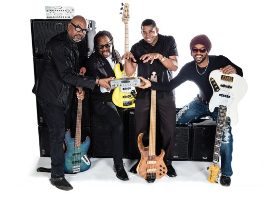 Final photo edit of Wayne Jones AUDIO endorsees. Bass players, Carl Young, Nathaniel Phillips, David Dyson, André Berry.