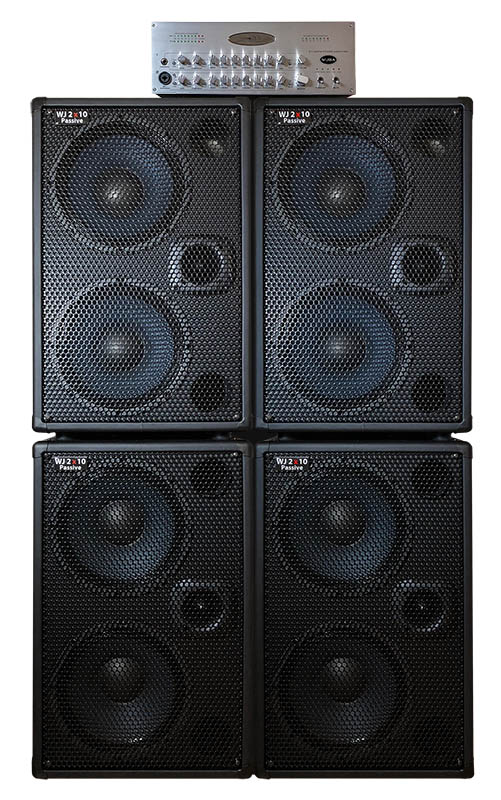 WJBA 2000 Watt Bass Guitar Amplifier with built in Twin Channel Bass Pre-Amp, featuring the option of phantom power on the second channel. 2000 Watts into 4 or 8 Ohms with four passive 2x10 700 watt bass guitar cabinets