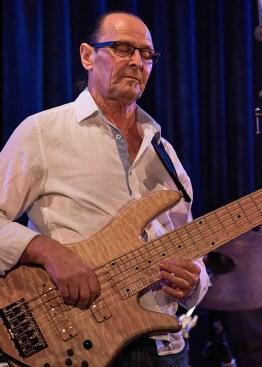 Wayne Jones with is Fodera Monarch Elite 6 string bass guitar @ Bird's Basement jazz club in Melbourne