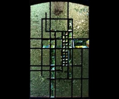 Contemporary Beveled Gluechip Glass Window ©Cain Art Glass 2016, All Rights Reserved