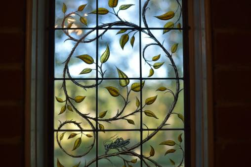 Contemporary Stained Glass Vine and Branches Window Detail ©Cain Art Glass 2016, All Rights Reserved
