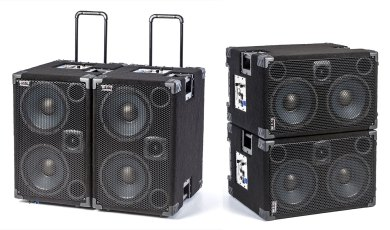 Wayne Jones AUDIO 1000 Watt 2x10 Powered Bass Cabinet side by side and stacked