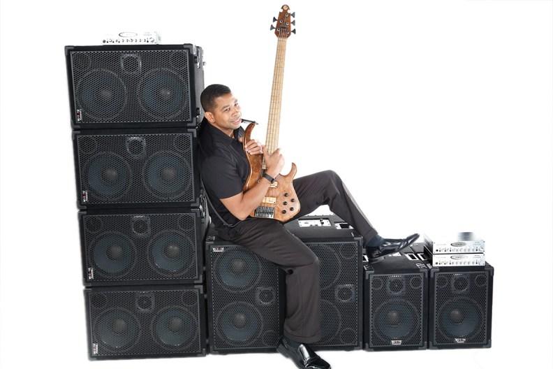 Bass player David Dyson @ Wayne Jones AUDIO photo shoot, March 2016