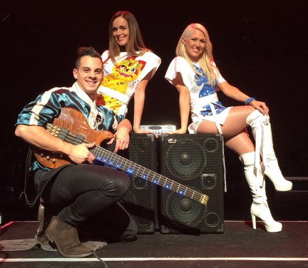 Joseph Fernand and his 2000 Watt WJ Bass rig. Bjorn Again shows at The Palms, Crown Casino Melbourne