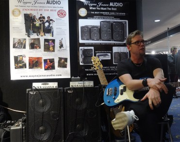 Drew Dedman, bass player for Superheist - Wayne Jones AUDIO stand, Melbourne Guitar Show 2016