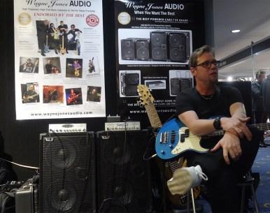 Drew Dedman, bass player for Superheist - Wayne Jones AUDIO stand, Melbourne Guitar Show 2016