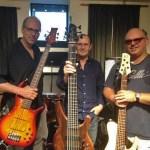 "3 Nice Bass Guitars - Paul Adamy with his ""F"" Bass, Wayne with the Status Empathy & Steve Millhouse with his Fodera."