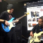Drew Dedman, bass player for Superheist & Chris Bekker - Wayne Jones AUDIO stand, Melbourne Guitar Show 2016