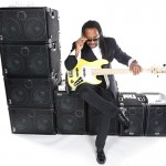 Bass player Nate Phillips @ Wayne Jones AUDIO photo shoot, March 2016. At Center Staging, 3407 Winona Ave., Burbank, CA 91504.