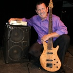 Bass Player Tim George with his Wayne Jones AUDIO rig, WJBP Stereo Valve Bass Pre-Amp & 1000 Watt 2x10 Powered Bass Cabinet.