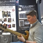 Tyson Constantinou, a new generation awesome player checking out Wayne Jones AUDIO bass rig with a Fodera Monarch 5 Deluxe